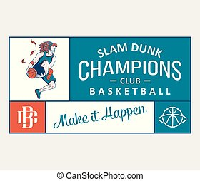 Slam dunk champions is a vector ilustration about sport