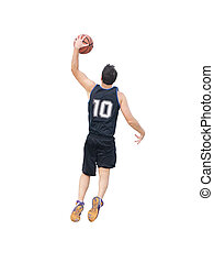 slam dunk on white background