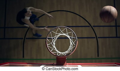 Slam Dunk - Right from above view of the basketball player ...