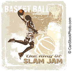slam jam basketball - basketball vector illustration for...