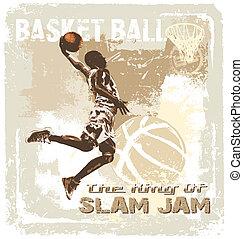 slam jam basketball - basketball vector illustration for...