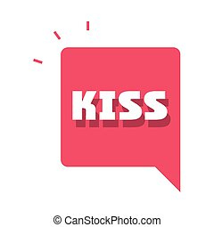 slang bubbles, kiss single word over white background, flat icon design vector illustration
