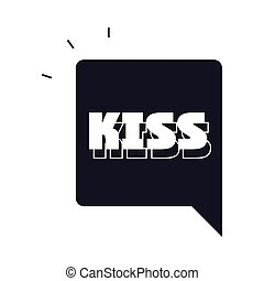 slang bubbles, kiss single word over white background, silhouette icon style vector illustration