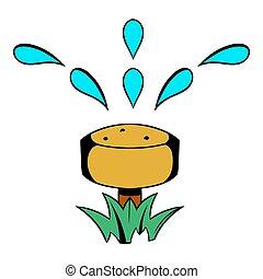 slang, pictogram, spotprent, irrigatie