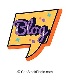 slang speech bubble with blog word line and fill style