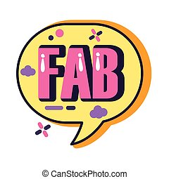 slang speech bubble with fab word line and fill style