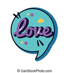 slang speech bubble with love word line and fill style