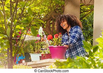 slang, trädgård, vatten, besprutning, terrassera, flicka