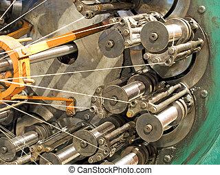 slang, vlechten, metaal, machine, lijn., fabriekshal, taken, closeup.flexible