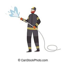 slang, vuur, vrijstaand, vecht, brandweerman, spotprent, vector, illustratie, plat, water