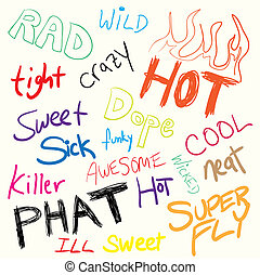 A variety of slang words and ebonics doodled in vector format.
