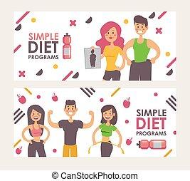 slank, effectief, illustratie, verlies, man, dieet,...