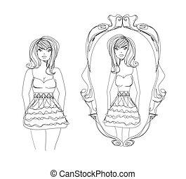 slank, verlustigt zich in, volle, reflectie, haar, dame