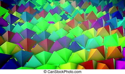 """""""slanted, lines"""", oppervlakte, kleurrijke, piramides"""