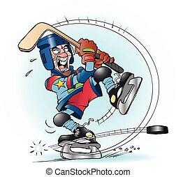 Vector cartoon illustration of a slap shot in hockey