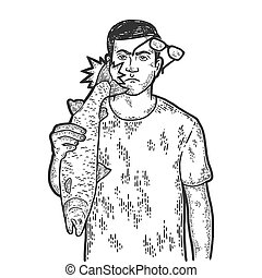 Slap tail of fish tail. Engraving vector illustration. Sketch scratch board imitation.
