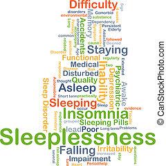 slapeloosheid, concept, achtergrond