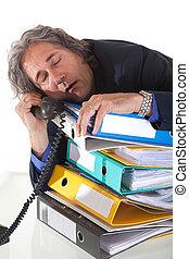 slapend, het vallen, durning, phonecall