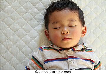 slapende, japanner, jongen, (2, jaren, old)