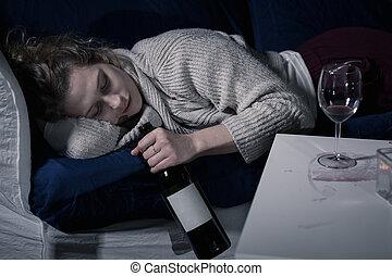 slapende, met, fles