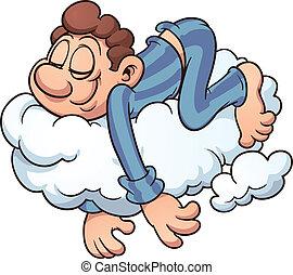 slapende, op, een, wolk