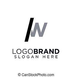 Slash and W letter Logo Vector