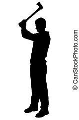 Slashing man with axe silhouette on white