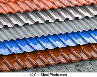 slate., アスファルト, セラミック, 屋根板, coating., 層, 背景, シート, 屋根, 屋根ふき, タイプ, プロフィール, 別, タイル, ギプス, 金属