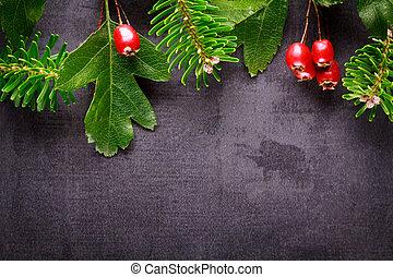 slate., back, versiering, takje, achtergrond, besjes, kerstmis, rood