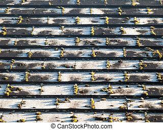 slate black tiled surface rooftop pattern house