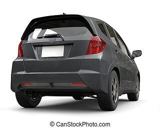 Slate gray metallic modern compact car - back view