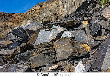 Slate mine garbaje rocks