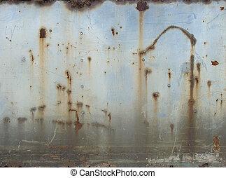 slate of blue painted rusted metal