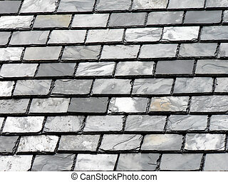 Slate Roof Tiles - Close up of slate roof tiles.