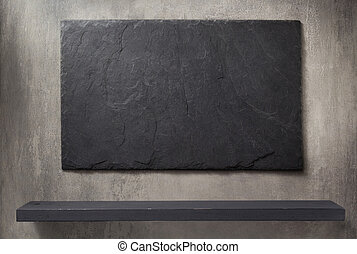 slate stone and grey wall background