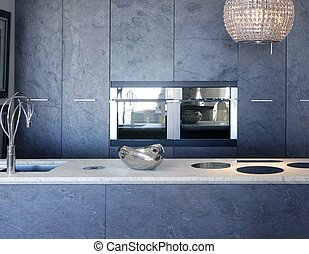 slate stone kitchen forniture marble bench integrated vitroceramic stove