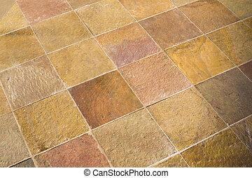 Slate Tile - Closeup Detail of a Brown Slate Floor