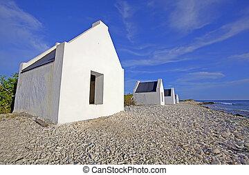 Historical white slave huts on Bonaire, Caribbean