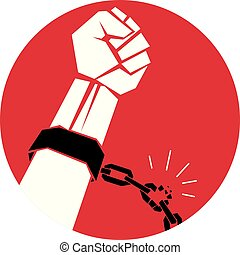 Slave red arm with clenched fist in shackles breaks the chain. No limits and restrictions conceptual emblem.