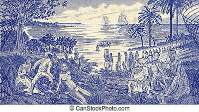 Slave Trade Scene on 500 Pesos 1990 Banknote from Guinea...