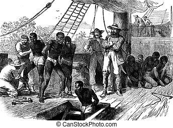Slavery in Africa. The Treaty, vintage engraved illustration. Journal des Voyage, Travel Journal, (1880-81).
