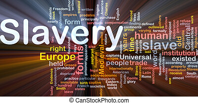 Software package box Word cloud concept illustration of human slavery