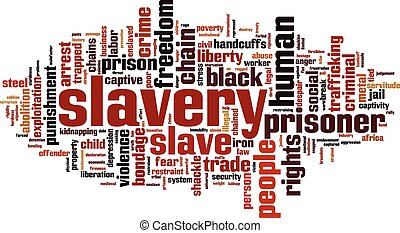 Slavery word cloud concept. Vector illustration