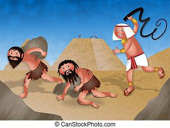 Slaves in Egypt - Jewish Passover - A cartoon illustration...