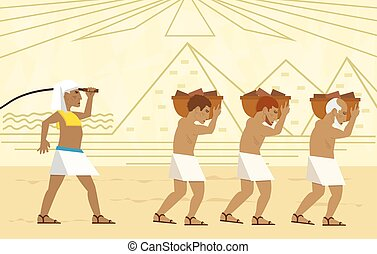 Passover illustration of slaves carrying bricks and a stylized landscape of the pyramids in the background. Eps10