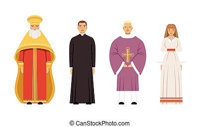 slavic, nő, pogány, ortodox, katolikus, lelkész, anglikán lelkész, emberek, vektor, vagy, lelkipásztor, ábra, gyűjtés, öltözék, betűk, fővárosi, hagyományos, vallás