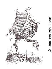 slavic, tales., caractère, hutte, par, va, swamp., poulet, jambes