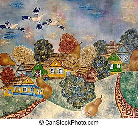 Original oil painting of slavic village