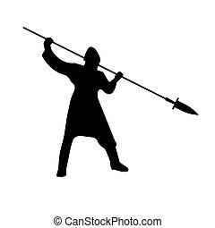 Slavic Warrior Silhouette with lance sword. Vector illustration.
