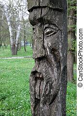 slaviska, trä, idol